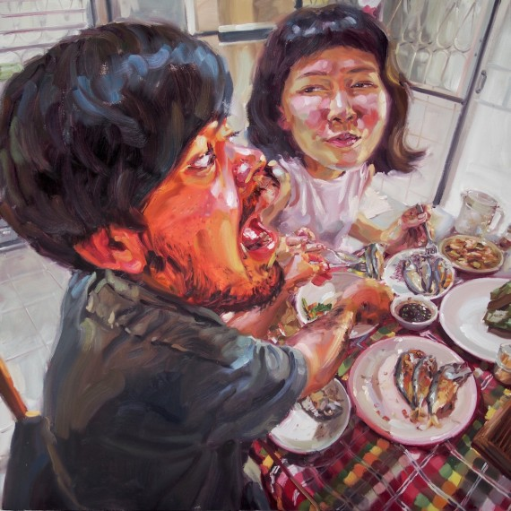 กินเยอะๆ (Here, eat mine), oil on canvas, 150x150 cm.