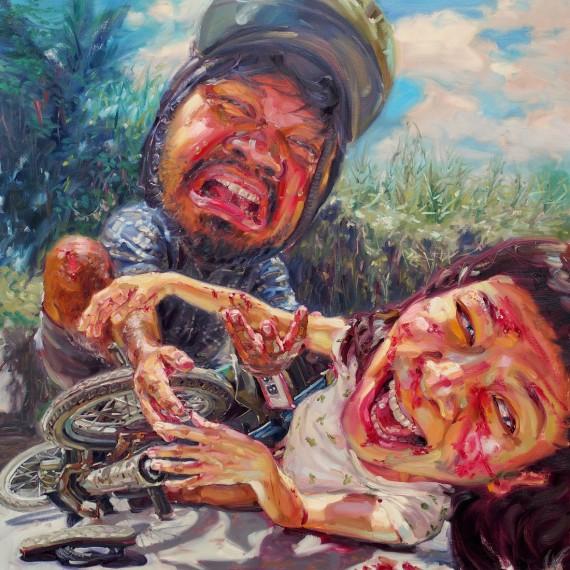 โมไม่ต้องร้องไห้ (Don't worry, I am fine!), oil on canvas, 150x150 cm.