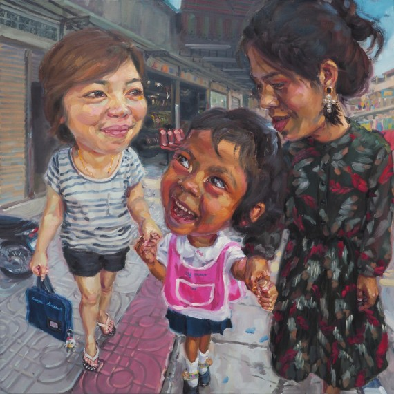หลังเลิกเรียน (walking home with mommies), oil on linen, 120x120 cm.