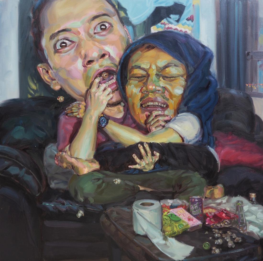 สยองขวัญวันหยุด (Horror Movie), oil on linen, 150x150 cm.