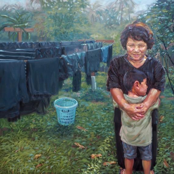 ยิ้มสู้ (Smiles), oil on linen, 120x120 cm.