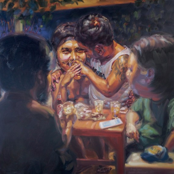 หมดแก้ว! (Drink up!), oil on linen, 150x150 cm.