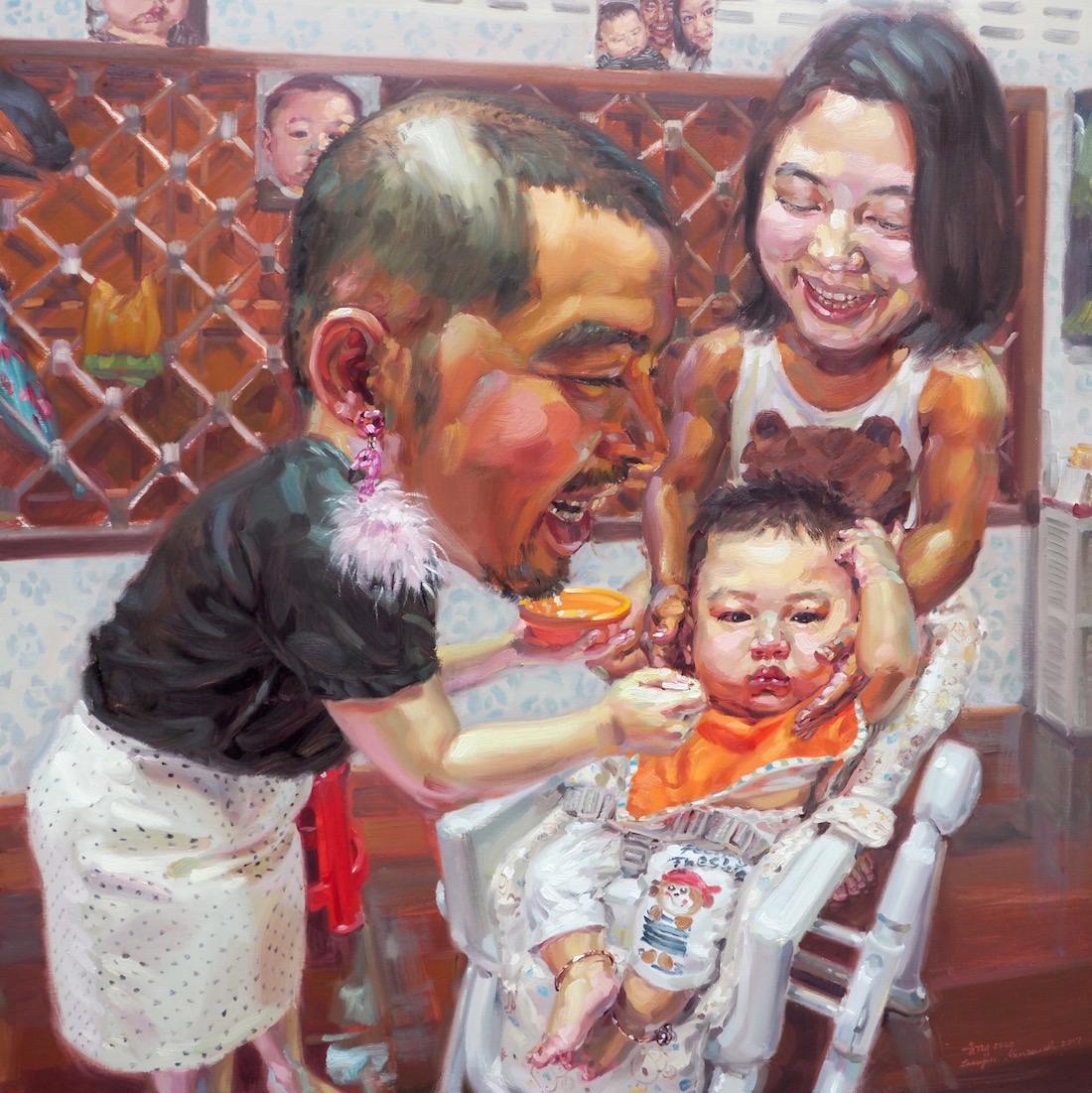 คนไหนคือแม่ของโป้ฮับ (Which is my mom?), oil on linen, 150x150 cm.