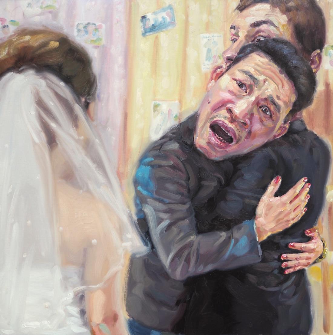 แอบมองเธออยู่นะจ๊ะ เธอไม่รู้บ้างเลย (Is that my groom?), oil on linen, 120x120 cm.