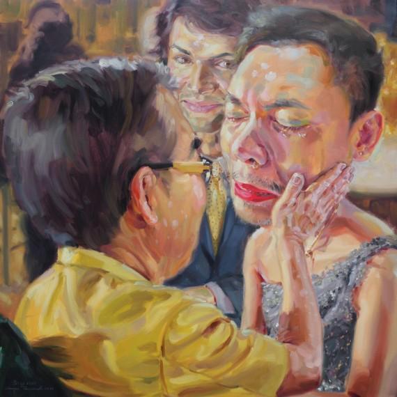 ไปเถิดทั้งคู่ ไปสู่ประตูสวรรค์ (Don't cry my daughter), oil on linen, 150x150 cm.