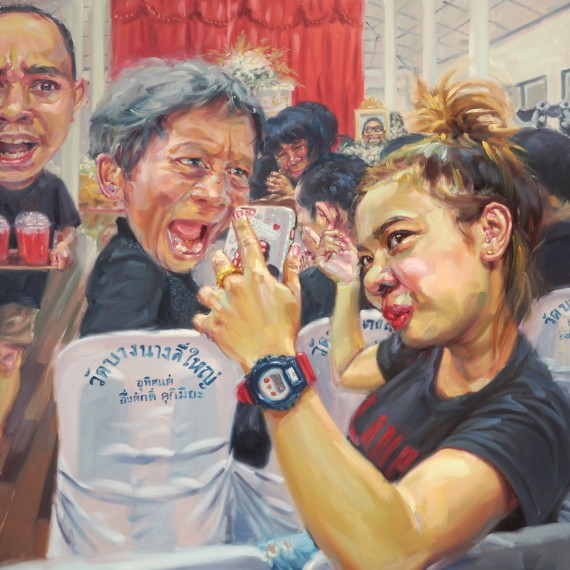 ถ่ายกับเจ้าภาพ (Can I take a photo with you?), oil on linen, 200x200 cm.