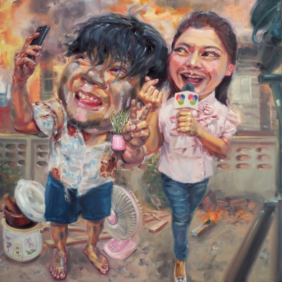 ก่อนไฟมอด (Before the fire extinguish), oil on linen, 200x200 cm.