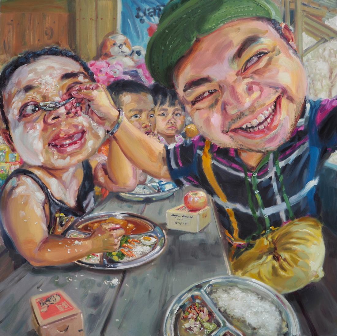 เลี้ยงอาหารกลางวันเด็ก(I am a kindness person), oil on linen, 150x150 cm.