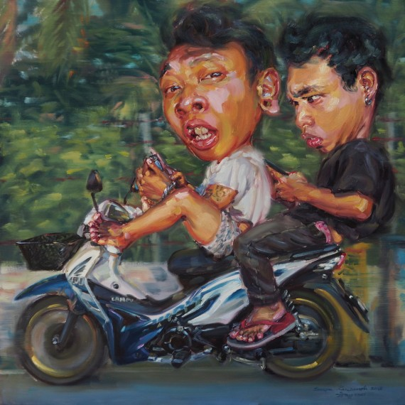 ไลค์ทัก (Push the like if you love), oil on linen, 100x100 cm.