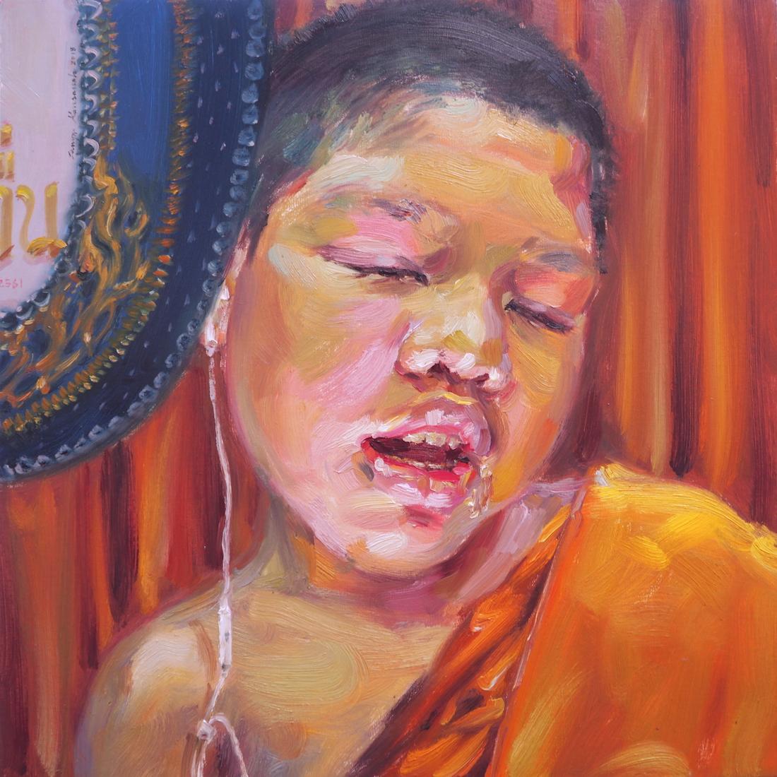 หลับไม่ตื่น(Sleep never wake), oil on linen, 50x50 cm.