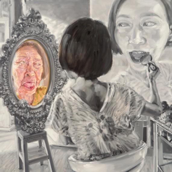 ส่องกระจกดูเงา เงาของตัวเอง (Self portrait), oil on linen, 120×120 cm.