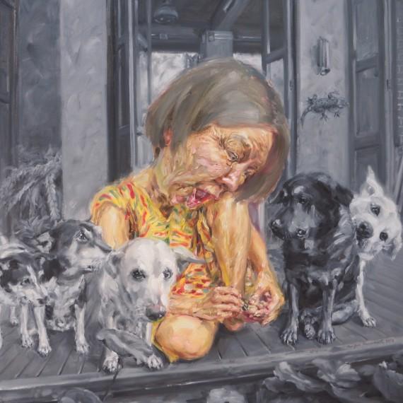 อยากให้เธออยู่ตรงนี้ (Love me love my dogs), oil on linen, 100×100 cm.