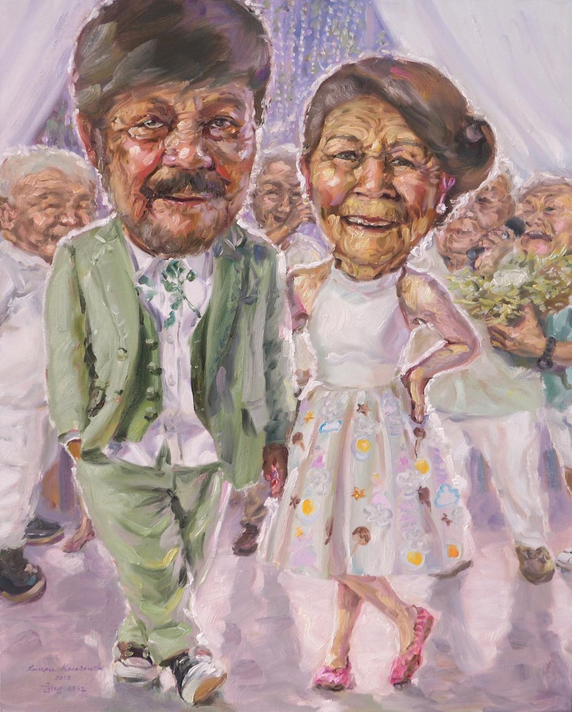 หกสิบปีแห่งความหลัง (When we are married again), oil on linen, 80×100 cm.