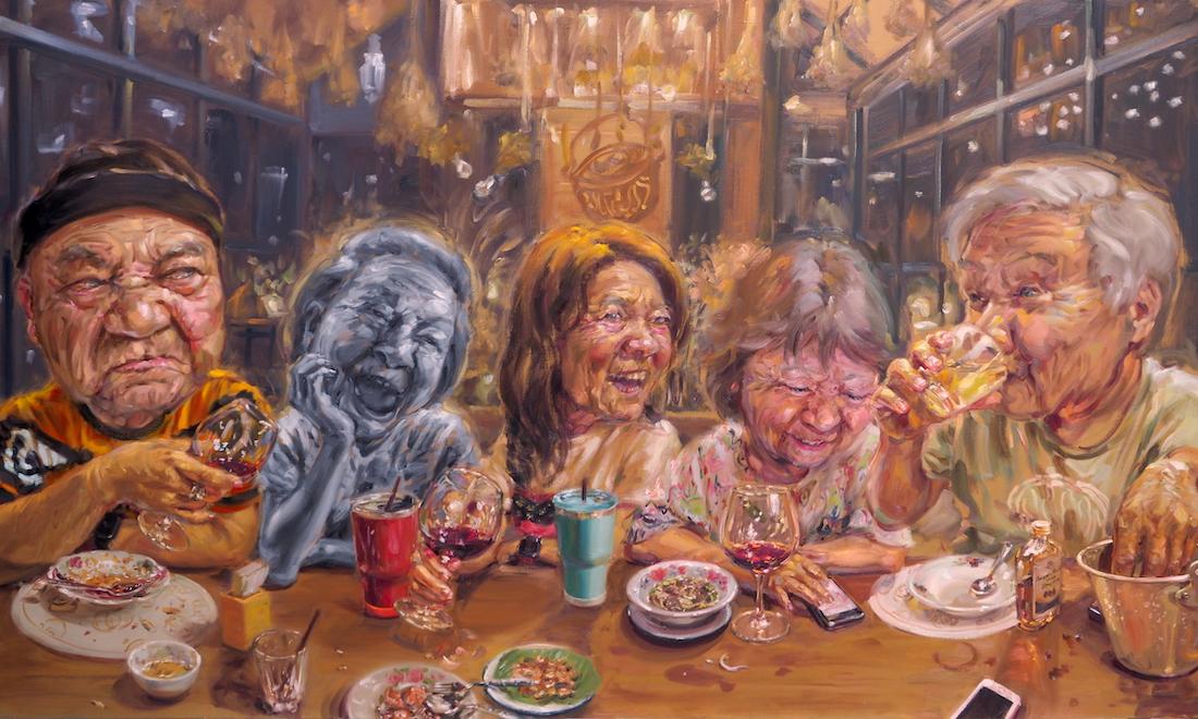 อาหารเกือบจะมื้อสุดท้าย, Almost the last supper, 150x250 cm, Oil on canvas