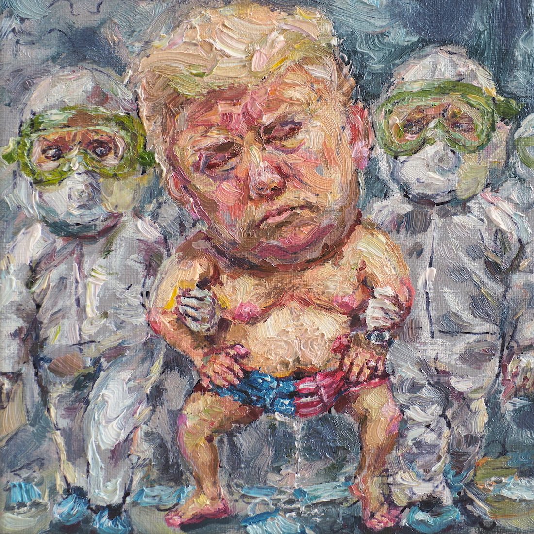 Give me a diaper, oil on linen, 15x15cm.