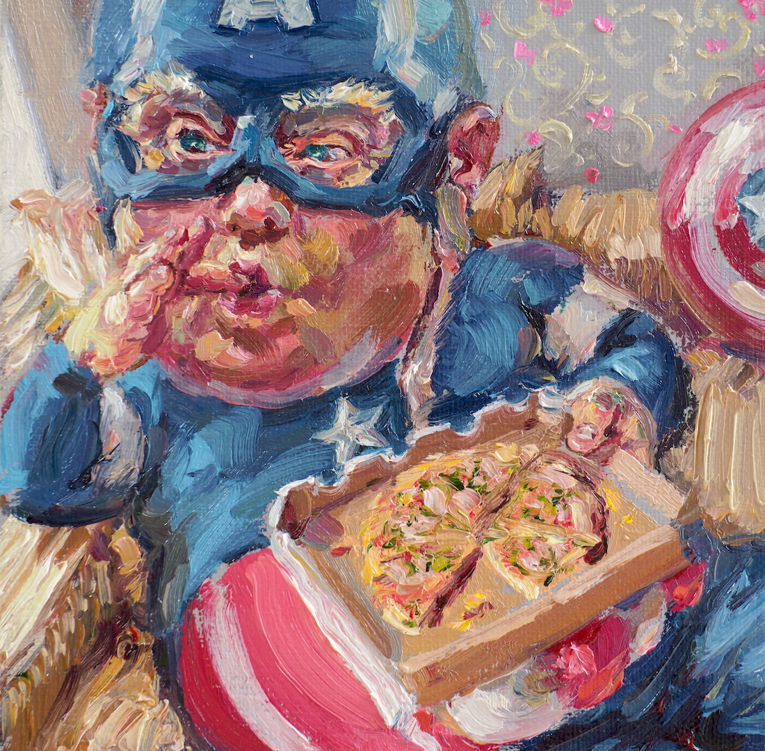 Pizza could save the world, oil on linen, 15x15cm.