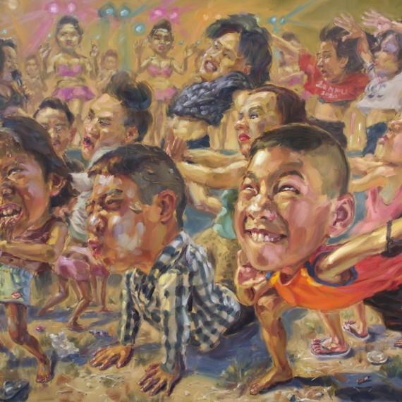 อดนมหรือยังลูก (Dancing in the light), oil on linen, 170x230 cm.