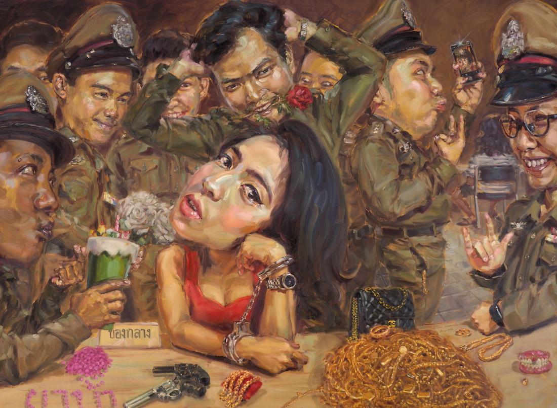 คนน่ารักมักใจร้าย (The beautiful criminal), oil on linen, 170x230 cm.