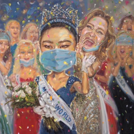 นางฟ้าองค์ใดแปลงกายลงมา (Miss world 2020), oil on linen, 200x200 cm.